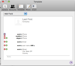 Mac OS X Address Book Preferences->Template